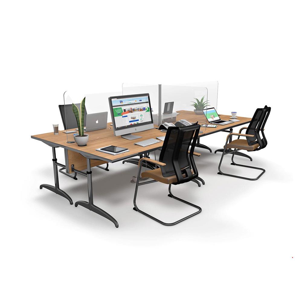 ACHOO® Crystal Clear Modular Desk Screens 4 Bay Workstation Dividers