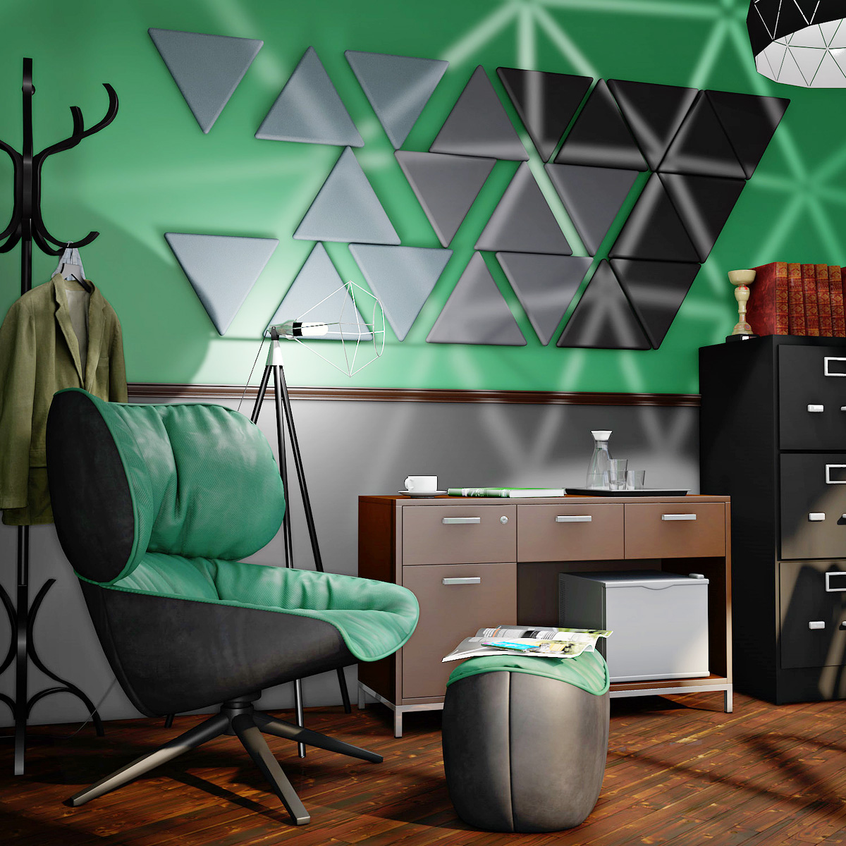 VIRAGE™ Triangular Acoustic Wall Soundproofing Panels